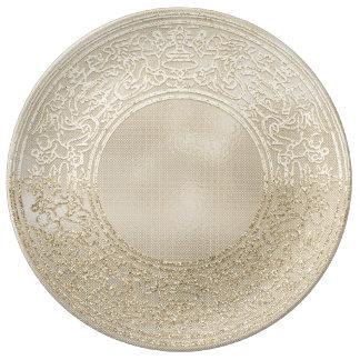 Prato De Porcelana Anjos da hortelã do marfim de Champagne do