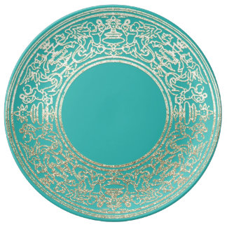 Prato De Porcelana Anjos da hortelã do ouro de Champagne do ornamento