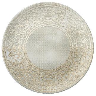 Prato De Porcelana Anjos do coral do ouro de Champagne do ornamento