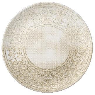 Prato De Porcelana Anjos do ouro de Champagne do ornamento do