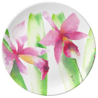 Prato De Porcelana Aquarela Orquídea Flor Colorida Decorativa Bonita