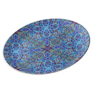 Prato De Porcelana arabesque colorido Boho-romântico do ornamento da
