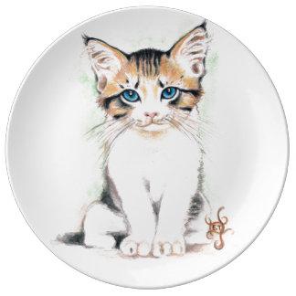 Prato De Porcelana Arte bonito da aguarela do gato malhado