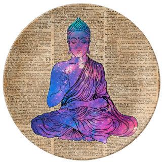Prato De Porcelana Arte do dicionário do vintage de Buddha do espaço