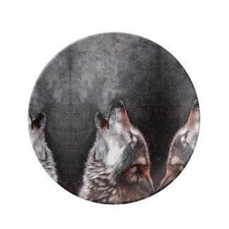 Prato De Porcelana Arte do lobo - lobo do urro - pintura do lobo