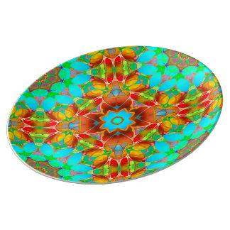 Prato De Porcelana Arte floral G410 do Fractal da placa da porcelana