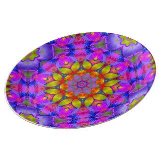 Prato De Porcelana Arte floral G445 do Fractal da placa da porcelana