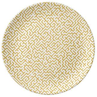 Prato De Porcelana Arte moderna elegante do labirinto - ouro & branco