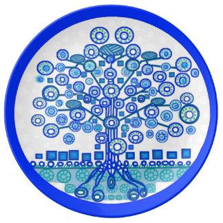 Prato De Porcelana Árvore azul da placa da vida