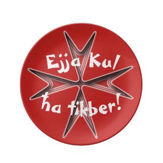 Prato De Porcelana As lembranças de Malta, Ejja Kul Ha Tikber, comem