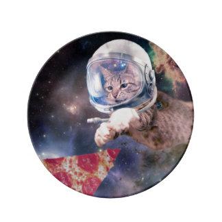 Prato De Porcelana astronauta do gato - gatos engraçados - gatos no