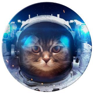 Prato De Porcelana Astronauta do gato - gatos no espaço - espaço do