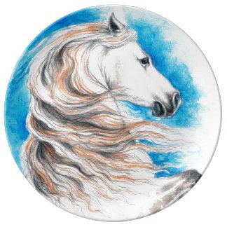Prato De Porcelana Azul andaluz do cavalo