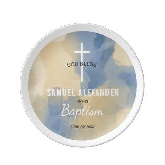 Prato De Porcelana Azul do baptismo e lembrança da aguarela do ouro