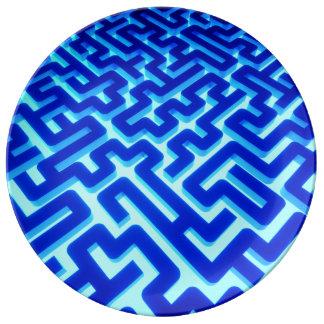 Prato De Porcelana Azul do labirinto