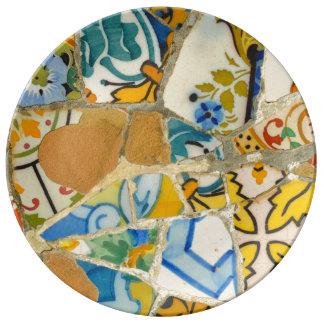 Prato De Porcelana Azulejos em Parc Guell na espanha de Barcelona