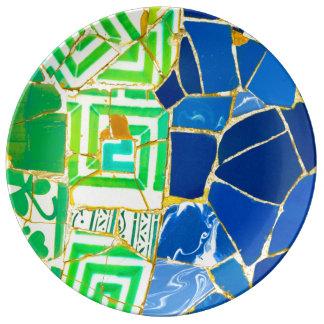 Prato De Porcelana Azulejos verdes de Parc Guell na espanha de