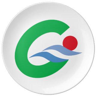 Prato De Porcelana Bandeira da prefeitura de Japão