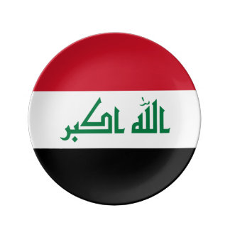 Prato De Porcelana Bandeira de Iraque