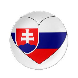 Prato De Porcelana Bandeira de Slovakia simples