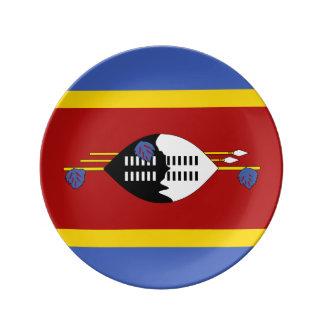 Prato De Porcelana Bandeira de Suazilândia
