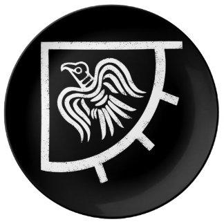 Prato De Porcelana Bandeira de Viking da bandeira do corvo