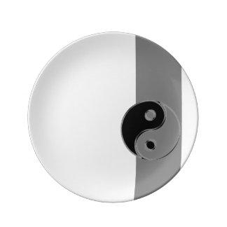 Prato De Porcelana Base de porcelana Yin Yang Preto/Cinzentos