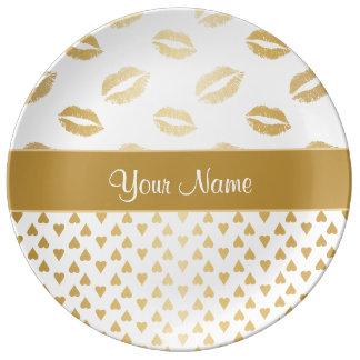 Prato De Porcelana Beijos do branco e do ouro e corações do amor