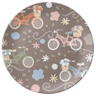 Prato De Porcelana Bicicleta retro e flores