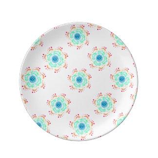"""Prato De Porcelana Boho 8,5"""" placa decorativa da porcelana"""