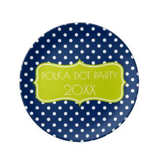 Prato De Porcelana Bolinhas dos azuis marinhos e do verde limão