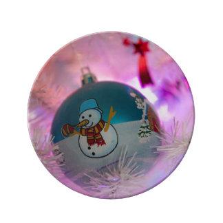 Prato De Porcelana Boneco de neve - bolas do Natal - Feliz Natal