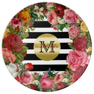 Prato De Porcelana Brilho na moda do ouro das flores dos rosas das