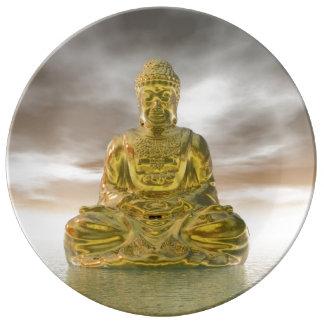 Prato De Porcelana Buddha dourado - 3D rendem