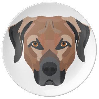 Prato De Porcelana Cão Brown Labrador da ilustração