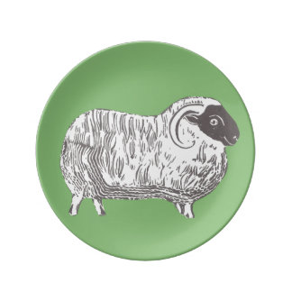 Prato De Porcelana Carneiros com a placa decorativa verde da