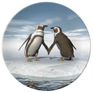 Prato De Porcelana Casal dos pinguins