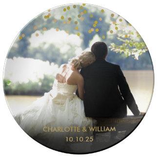 Prato De Porcelana Casamento personalizado dos confetes do ouro da