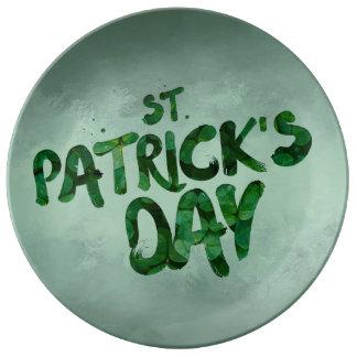 Prato De Porcelana Céltico verde do irlandês do trevo do Dia de São