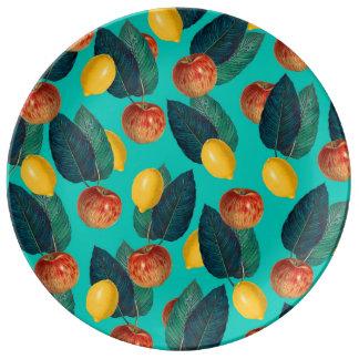 Prato De Porcelana cerceta das maçãs e dos limões