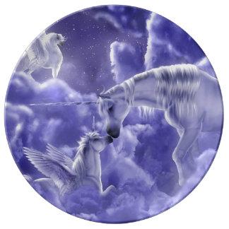 Prato De Porcelana Céu nocturno mágico & Mystical dos unicórnios da
