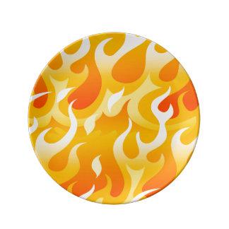 Prato De Porcelana Chamas quentes