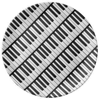Prato De Porcelana Chaves pretas & brancas do piano