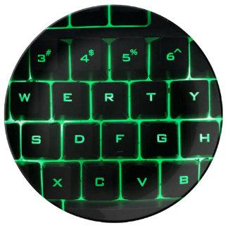 Prato De Porcelana Chaves verdes QWERTY do teclado de computador