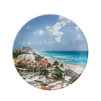 Prato De Porcelana Cidade de Cancun em perto da praia