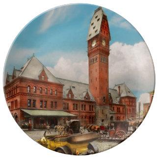 Prato De Porcelana Cidade - mal de Chicago - estação 1910 de Dearborn