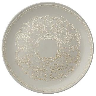 Prato De Porcelana Cinzas italianas do ouro de Champagne do ornamento