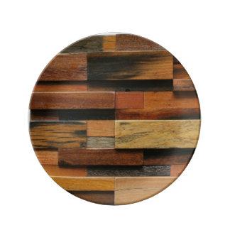 Prato De Porcelana Colagem de madeira Textured multicolorido