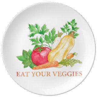 Prato De Porcelana Coma seus vegetarianos
