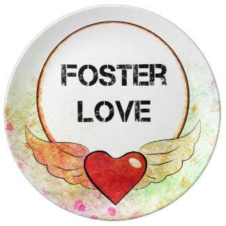 Prato De Porcelana Coração adoptivo da aguarela do amor